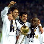 Real's Fernando Hierro, Luis Figo, Claude Makelele with the World club trophy