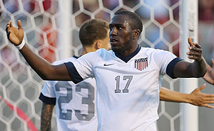 Jozy Altidore of the United States celebrates his goal against Honduras during their World Cup qualifying match at Rio Tinto Stadium in Sandy, Utah, on Tuesday