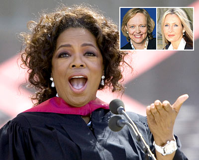 Oprah Winfrey. [Inset: Margaret Whitman (left) and J K Rowling (right)]