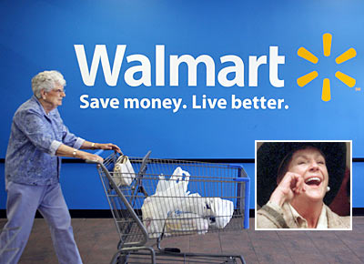 A customer leaves a Wal-Mart store in Rogers, Arkansas. (Inset: Alice Walton)