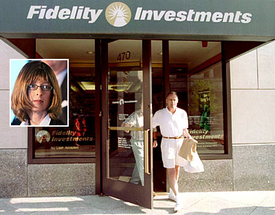 Customers leave a sales office of Fidelity Investments in Boston. (Inset: Abigail Johnson)