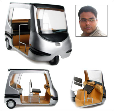 Prajwal Ullal (inset) and his electric auto rickshaw