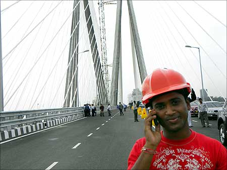 A proud worker on the Bandra Worli Sea Link