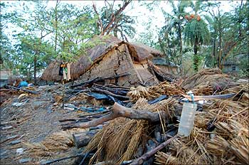 Huts damaged by Cyclone Aila in Sunderbans.