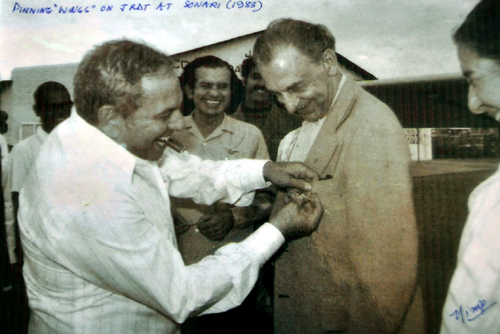 This 1988 photograph shows Russi Mody with JRD Tata.