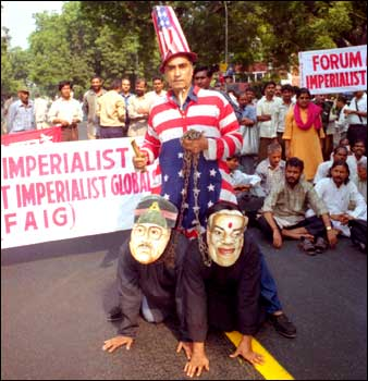 rediff com: Protest against US attacks on Afghanistan