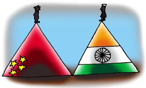 The military stand-off continues in Ladakh. Illustration: Uttam Ghosh/Rediff.com