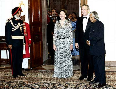 Then President A P J Abdul Kalam with then US President George W Bush and First Lady Laura Bush at Rashtrapati Bhavan, March 2, 2006. Photograph: Jim Watson/Getty Images